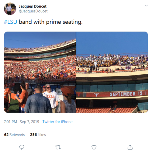 Screenshot_2019-09-10 Jacques Doucet on Twitter #LSU band with prime seating https t co RYwSxpiZiW Twitter