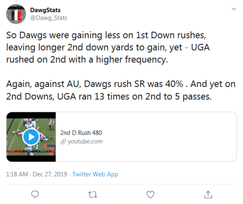 Screenshot_2019-12-27 DawgStats on Twitter So Dawgs were gaining less on 1st Down rushes, leaving longer 2nd down yards to [...]