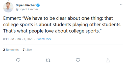 "Screenshot_2020-01-24 Bryan Fischer on Twitter Emmert ""We have to be clear about one thing that college sports is about stu[...]"