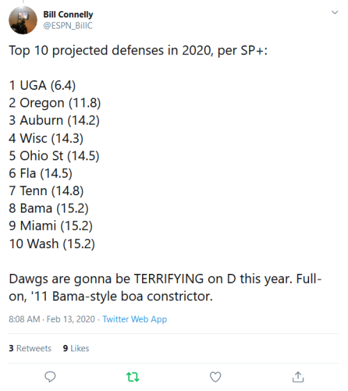 Screenshot_2020-02-13 Bill Connelly on Twitter Top 10 projected defenses in 2020, per SP+ 1 UGA (6 4) 2 Oregon (11 8) 3 Aub[...]