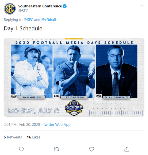 Screenshot_2020-02-20 Southeastern Conference on Twitter cfbhall Day 1 Schedule https t co TkPULnT82A Twitter