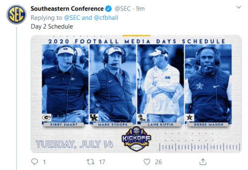 Screenshot_2020-02-20 Southeastern Conference on Twitter cfbhall Day 1 Schedule https t co TkPULnT82A Twitter(1)