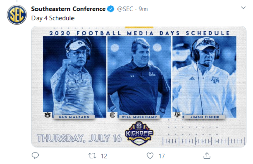 Screenshot_2020-02-20 Southeastern Conference on Twitter cfbhall Day 1 Schedule https t co TkPULnT82A Twitter(3)