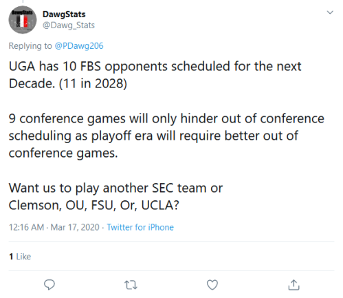 Screenshot_2020-03-17 (1) DawgStats on Twitter PDawg206 UGA has 10 FBS opponents scheduled for the next Decade (11 in 2028)[...]