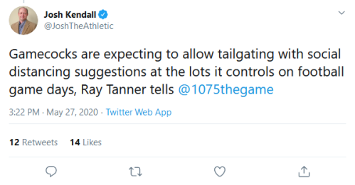 Screenshot_2020-05-28 Josh Kendall on Twitter Gamecocks are expecting to allow tailgating with social distancing suggestion[...]