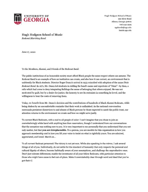 Screenshot_2020-06-18 UGA Redcoat Band on Twitter Please see a message to the Redcoat Band community from acting director B[...]