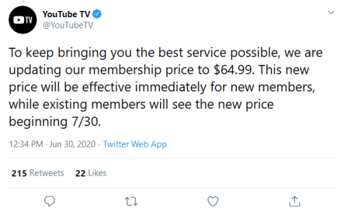 Screenshot_2020-06-30 YouTube TV on Twitter To keep bringing you the best service possible, we are updating our membership [...]
