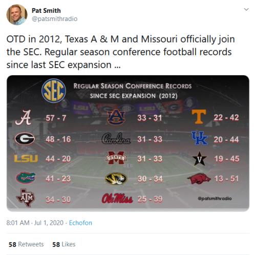 Screenshot_2020-07-01 Pat Smith on Twitter OTD in 2012, Texas A amp; M and Missouri officially join the SEC Regular season [...]