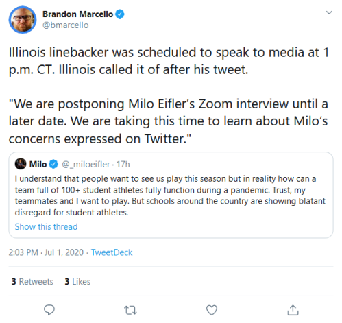 Screenshot_2020-07-02 Brandon Marcello on Twitter Illinois linebacker was scheduled to speak to media at 1 p m CT Illinois [...]