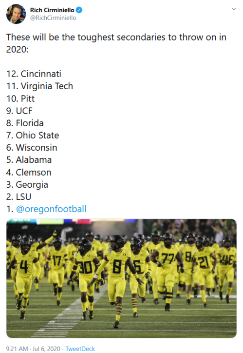 Screenshot_2020-07-07 Rich Cirminiello on Twitter These will be the toughest secondaries to throw on in 2020 12 Cincinnati [...]