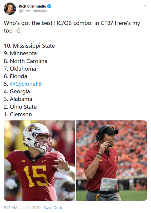 Screenshot_2020-07-07 Rich Cirminiello on Twitter Who's got the best HC QB combo in CFB Here's my top 10 10 Mississippi Sta[...]