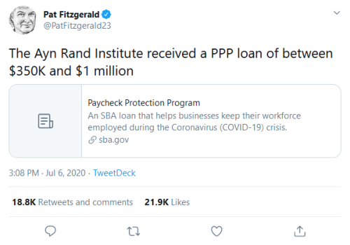 Screenshot_2020-07-08 Pat Fitzgerald on Twitter The Ayn Rand Institute received a PPP loan of between $350K and $1 million [...]