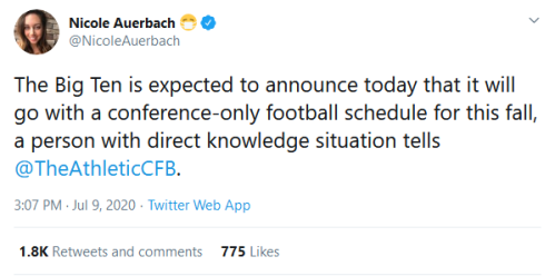 Screenshot_2020-07-09 Nicole Auerbach 😷 on Twitter The Big Ten is expected to announce today that it will go with a confer[...]