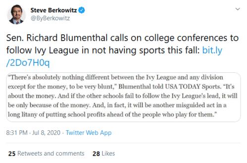 Screenshot_2020-07-09 Steve Berkowitz on Twitter Sen Richard Blumenthal calls on college conferences to follow Ivy League i[...]
