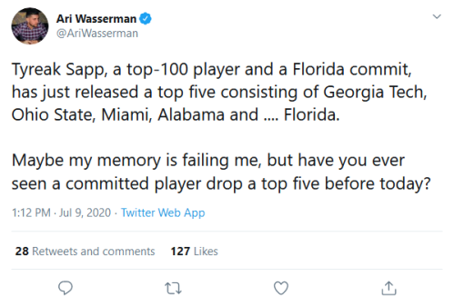 Screenshot_2020-07-10 Ari Wasserman on Twitter Tyreak Sapp, a top-100 player and a Florida commit, has just released a top [...]