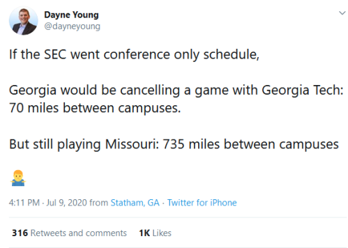 Screenshot_2020-07-10 Dayne Young on Twitter If the SEC went conference only schedule, Georgia would be cancelling a game w[...]