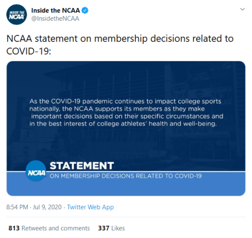 Screenshot_2020-07-10 Inside the NCAA on Twitter NCAA statement on membership decisions related to COVID-19 https t co Gvmk[...]