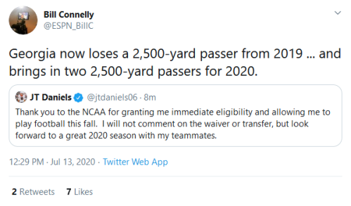 Screenshot_2020-07-13 Bill Connelly on Twitter Georgia now loses a 2,500-yard passer from 2019 and brings in two 2,500-yard[...]