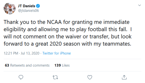 Screenshot_2020-07-13 JT Daniels on Twitter Thank you to the NCAA for granting me immediate eligibility and allowing me to [...]