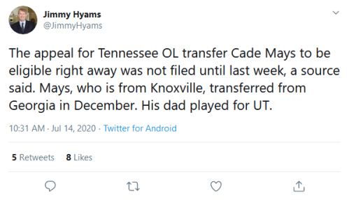 Screenshot_2020-07-14 Jimmy Hyams on Twitter The appeal for Tennessee OL transfer Cade Mays to be eligible right away was n[...]