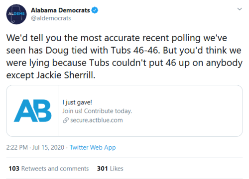 Screenshot_2020-07-15 Alabama Democrats on Twitter We'd tell you the most accurate recent polling we've seen has Doug tied [...]