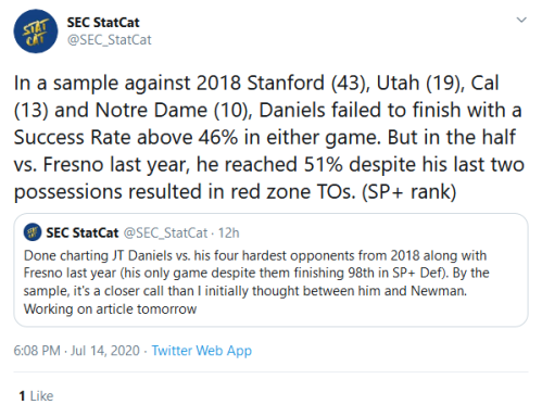 Screenshot_2020-07-15 SEC StatCat on Twitter In a sample against 2018 Stanford (43), Utah (19), Cal (13) and Notre Dame (10[...]