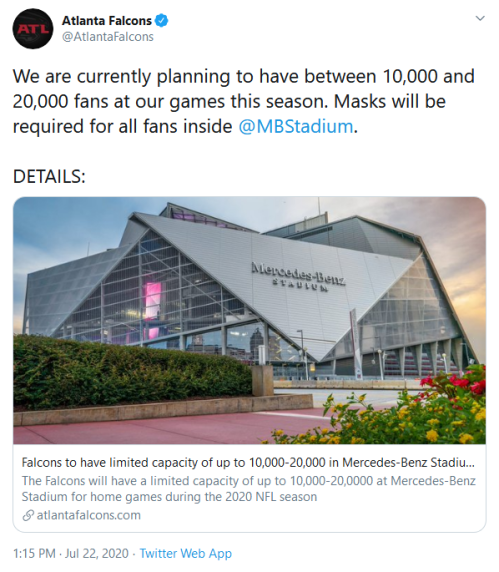 Screenshot_2020-07-22 Atlanta Falcons on Twitter We are currently planning to have between 10,000 and 20,000 fans at our ga[...]