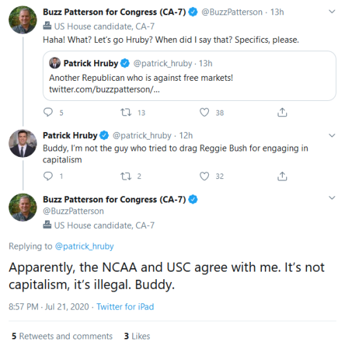 Screenshot_2020-07-22 Buzz Patterson for Congress (CA-7) on Twitter patrick_hruby Apparently, the NCAA and USC agree with m[...]