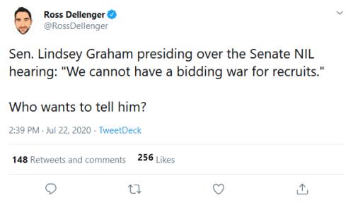Screenshot_2020-07-22 Ross Dellenger on Twitter Sen Lindsey Graham presiding over the Senate NIL hearing We cannot have a b[...]