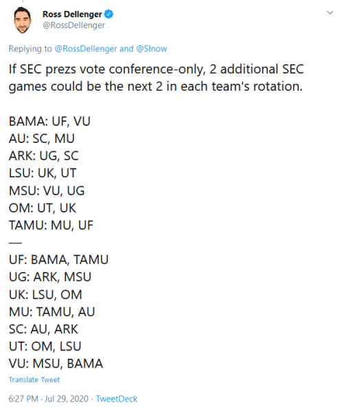 Screenshot_2020-07-30 Ross Dellenger on Twitter SInow If SEC prezs vote conference-only, 2 additional SEC games could be th[...]