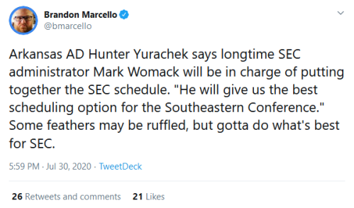 Screenshot_2020-07-31 (1) Brandon Marcello on Twitter Arkansas AD Hunter Yurachek says longtime SEC administrator Mark Woma[...]