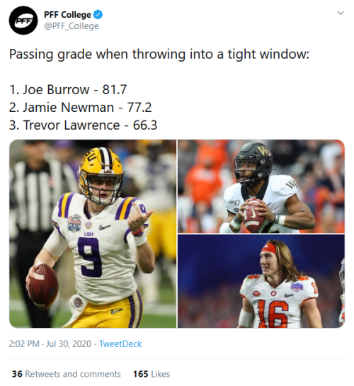Screenshot_2020-07-31 PFF College on Twitter Passing grade when throwing into a tight window 1 Joe Burrow - 81 7 2 Jamie Ne[...]