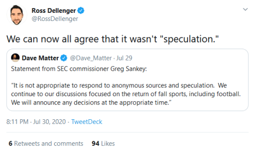 Screenshot_2020-07-31 Ross Dellenger on Twitter We can now all agree that it wasn't speculation Twitter