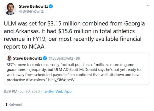 Screenshot_2020-07-31 Steve Berkowitz on Twitter ULM was set for $3 15 million combined from Georgia and Arkansas It had $1[...]