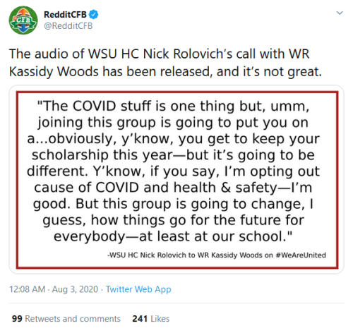 Screenshot_2020-08-03 RedditCFB on Twitter The audio of WSU HC Nick Rolovich's call with WR Kassidy Woods has been released[...]