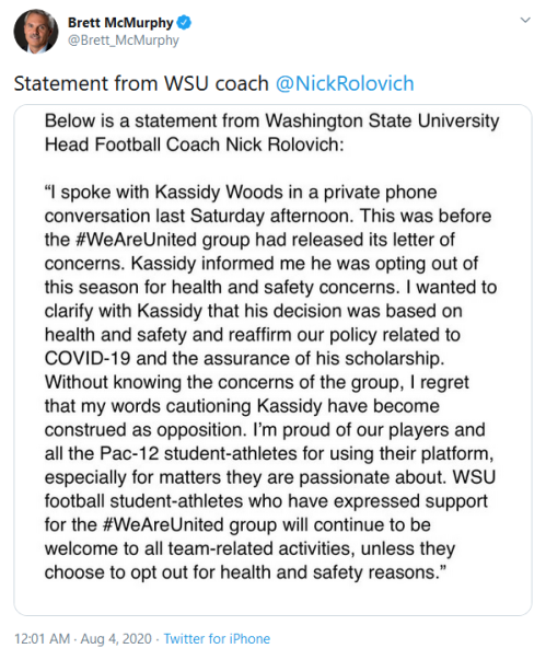 Screenshot_2020-08-04 Brett McMurphy on Twitter Statement from WSU coach ⁦ NickRolovich⁩ https t co s0m0ucWSE2 Twitter