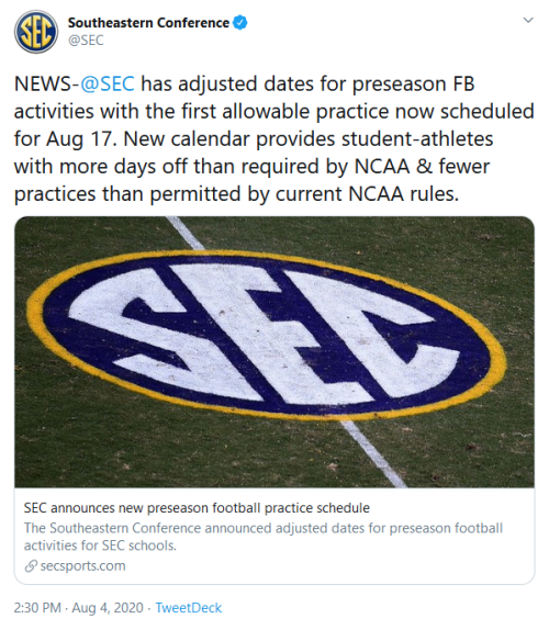 Screenshot_2020-08-04 Southeastern Conference on Twitter NEWS- SEC has adjusted dates for preseason FB activities with the [...]