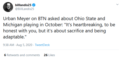 Screenshot_2020-08-05 billlandis25 on Twitter Urban Meyer on BTN asked about Ohio State and Michigan playing in October It'[...]