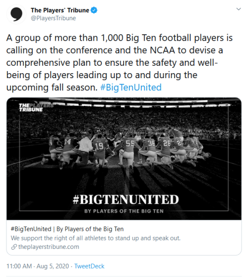 Screenshot_2020-08-05 The Players' Tribune on Twitter A group of more than 1,000 Big Ten football players is calling on the[...]