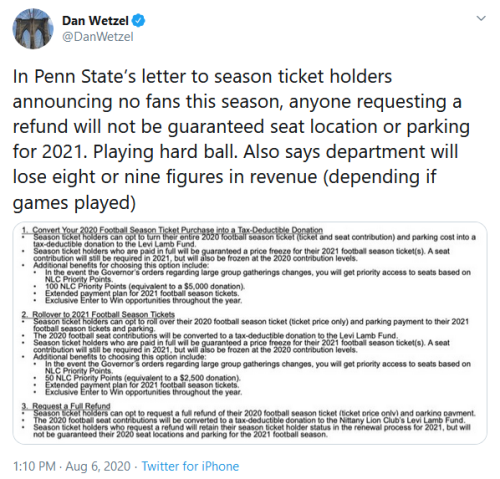Screenshot_2020-08-06 Dan Wetzel on Twitter In Penn State's letter to season ticket holders announcing no fans this season,[...]